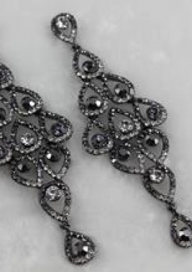 Black Crystal Chandelier Earring - Sassy Collections