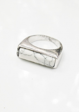 White Marble Silver Ring