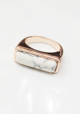 White Marble Rose Gold Ring