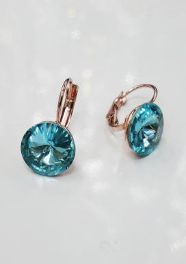 Rose Gold and Aqua Large Round Crystal Earring