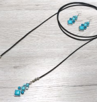 Turquoise Drop Leather Wrap Necklace and Earring Set
