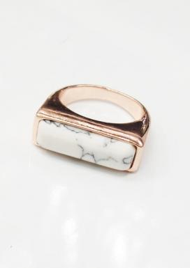 White Marble Rose Gold Ring