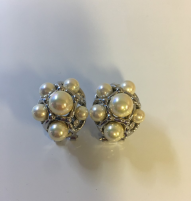 Silver White Pearl and Crystal Cuff Earring